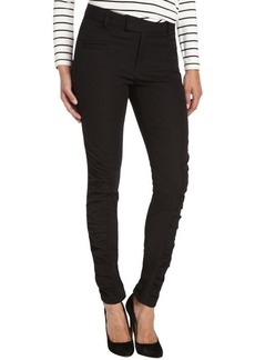 Nanette Lepore black stretch cotton ruched skinny 'Crow' pant