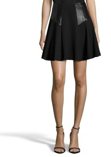 Nanette Lepore black stretch jersey leather accent 'Coyote' skirt