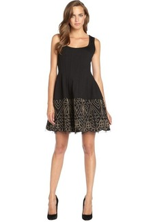 Nanette Lepore black stretch woven 'Sandstone' dress with mesh flared skirt