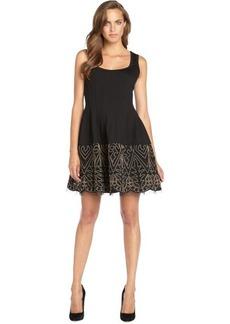 Nanette Lepore black stretch woven 'Sandstone' dress with mesh flared skirt