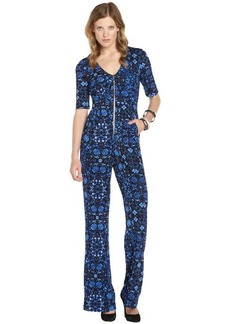 Nanette Lepore blue and black medallion print jersey 'Cabana' jumpsuit