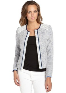 Nanette Lepore blue and white tweed and leather 'White Sands Jacket'