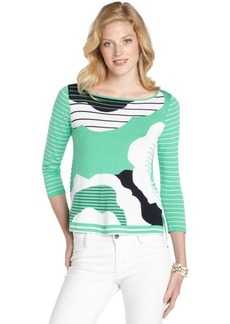 Nanette Lepore bright green abstract print cotton blend 'Animator' sweater