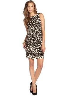Nanette Lepore brown and tan stretch leopard sheath dress
