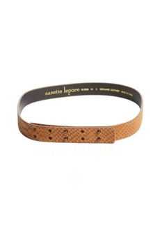 Nanette Lepore camel snake embossed leather belt