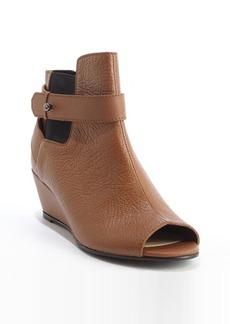 Nanette Lepore camel textured leather peep toe 'Vachetta' wedge heel booties
