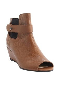 Nanette Lepore camel textured leather peep toe 'Vachetta' wedge heel booties