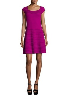Nanette Lepore Cap-Sleeve Textured Fit & Flare Dress  Cap-Sleeve Textured Fit & Flare Dress