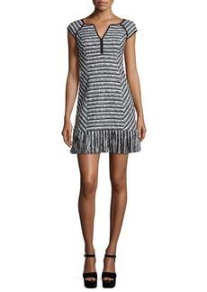 Nanette Lepore Cap-Sleeve Tweed Dress W/ Fringe Hem  Cap-Sleeve Tweed Dress W/ Fringe Hem