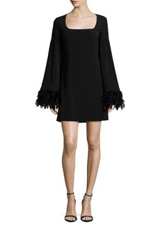Nanette Lepore Cape Dress W/ Feather Cuffs  Cape Dress W/ Feather Cuffs