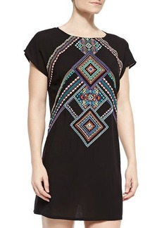 Nanette Lepore Carmenita Embroidered Open-Back Tunic