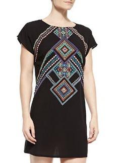 Nanette Lepore Carmenita Embroidered Open-Back Tunic