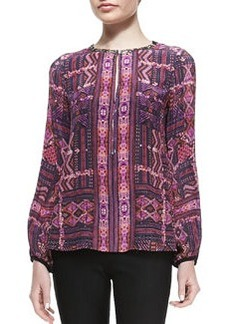 Nanette Lepore Carpet-Print Beaded Blouse