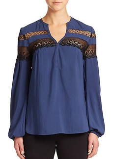 Nanette Lepore Clear Skies Lace-Striped Blouse