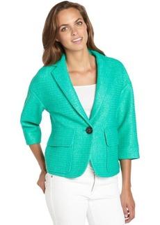 Nanette Lepore clove green textured cotton blend raffia blazer