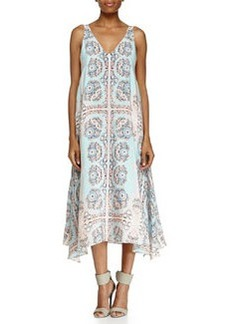 Nanette Lepore Coastal Deep Printed Sleeveless V-Neck Gown