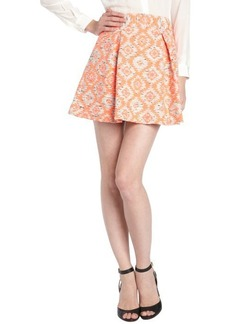 Nanette Lepore coral ikat print cotton blend tweed 'Wildcat' pleated skirt