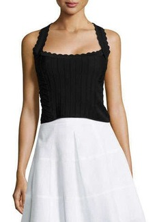 Nanette Lepore Corset Top with Scallop Detail, Black