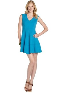 Nanette Lepore cyan blue stretch 'Pueblo' pleated v-neck dress