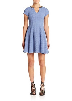 Nanette Lepore Daydream Embellished-Neck Fit & Flare Dress