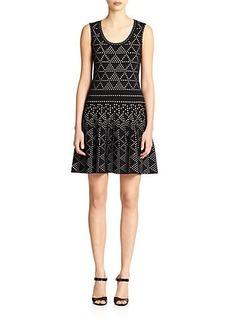 Nanette Lepore Dot-Print Knit Fit-&-Flare Dress