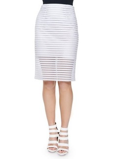 Nanette Lepore Easy Breezy Mesh Striped Pencil Skirt  Easy Breezy Mesh Striped Pencil Skirt