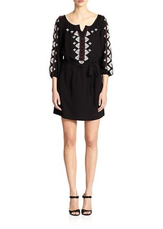 Nanette Lepore Embellished Blouson Peasant Dress