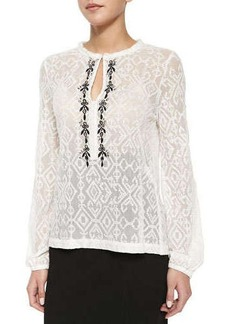 Nanette Lepore Embroidered-Trim Sheer Lace Blouse