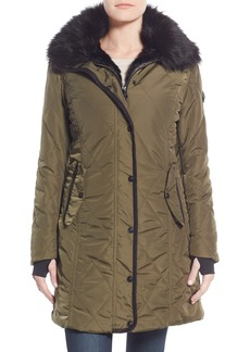 Nanette Lepore Faux Fur Lined Quilted Coat