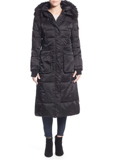 Nanette Lepore Faux Fur Trim Quilted Mixed Media Maxi Coat with Removable Hood & Inset Bib