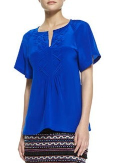 Nanette Lepore Fearless Split-Neck Stitch-Pleat Top