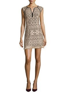 Nanette Lepore Ferocious Lace Dress W/ Fringed Hem