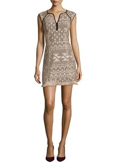 Nanette Lepore Ferocious Lace Dress W/ Fringed Hem
