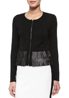 Nanette Lepore Fierce Lambskin Leather Fringe Cardigan