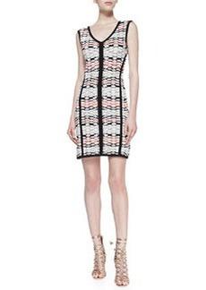 Nanette Lepore Fierce Printed Solid-Trim Knit Sheath Dress