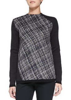 Nanette Lepore First Place Tweed-Front Pullover Top