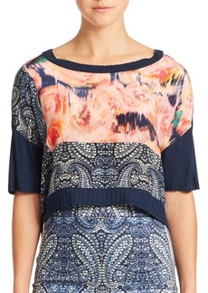 Nanette Lepore Floral Mixed-Media Cropped Top