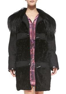 Nanette Lepore Fur-Collar Toggle-Front Coat