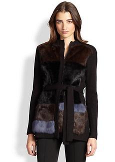 Nanette Lepore Fur-Paneled Wool Cardigan