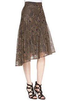 Nanette Lepore Geometric-Lace A-Line Skirt