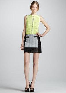 Nanette Lepore Graphic Design Leather Miniskirt