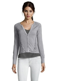 Nanette Lepore grey wool 'Patio' lace accent long sleeve cardigan