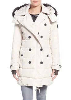 Nanette Lepore Hooded Down Peacoat with Faux Fur Trim