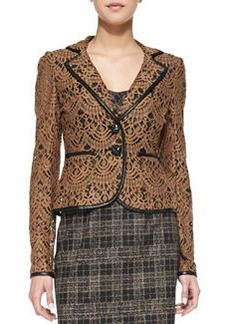 Nanette Lepore I Spy Leather-Trim Lace Jacket, Camel