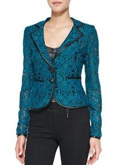 Nanette Lepore I Spy Leather-Trim Lace Jacket, Cyan