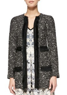 Nanette Lepore Incognito Fur-Trim Tweed Topper
