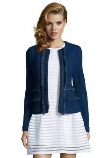 Nanette Lepore indigo frayed cotton blend stretch 'Dreamy Denim Jacket'
