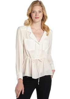 Nanette Lepore ivory chiffon 'Shadow' tie-waist blouse