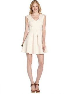 Nanette Lepore ivory stretch 'Pueblo' pleated v-neck dress