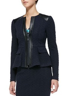 Nanette Lepore Keyhole Leather-Trim Textured Jacket